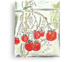 "Tomato Digital Painting (""In the Greenhouse"") Canvas Print"