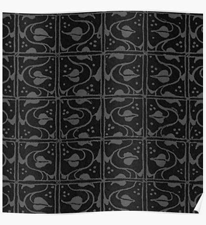 Vintage Leaf and Vines Charcoal Gray Black Poster
