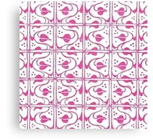Vintage Leaf and Vines Pink and White Canvas Print