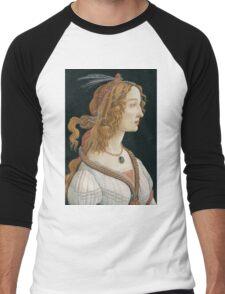 Botticelli  - Idealized Portrait of a Lady Portrait 1480 Woman Portrait Beauty Men's Baseball ¾ T-Shirt