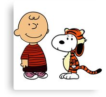 Charlie Brown and Snoopy as Calvin and Hobbes Canvas Print
