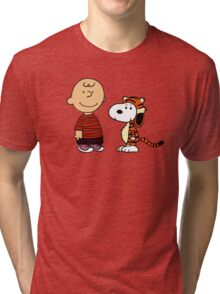 Charlie Brown and Snoopy as Calvin and Hobbes Tri-blend T-Shirt