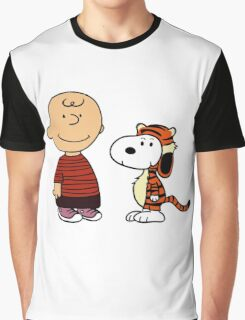 Charlie Brown and Snoopy as Calvin and Hobbes Graphic T-Shirt
