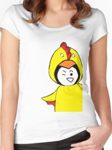 Pengychicken - a penguin in a chicken costume Women's Fitted Scoop T-Shirt