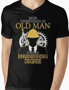Never Underestimate An Old Man With An Engineering Degree Mens V-Neck T-Shirt