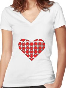 Heart Puzzle Women's Fitted V-Neck T-Shirt