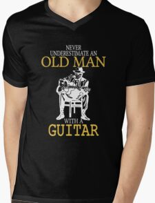 Never Underestimate An Old Man With A Guitar Degree Mens V-Neck T-Shirt