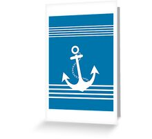 Nautical Blue and White Stripe Design with Anchor Greeting Card