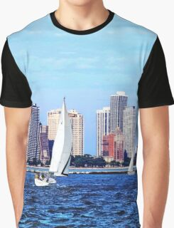 Chicago IL - Two Sailboats Against Chicago Skyline Graphic T-Shirt