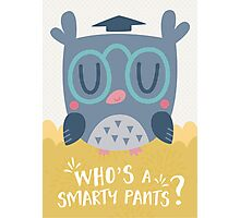 Smart Owl Character and Card Design Photographic Print