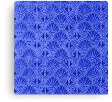 Vintage Seashells Sapphire Blue Canvas Print