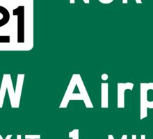 Dallas/Fort Worth International Airport (DFW), Road Sign, Texas Sticker