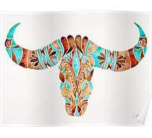 Water Buffalo Skull – Blue & Brown Poster