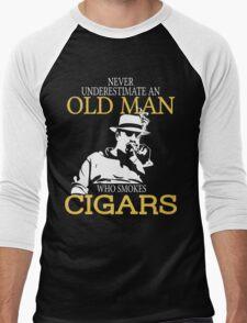 Never Underestimate An Old Man Who Smokes Cigars Men's Baseball ¾ T-Shirt