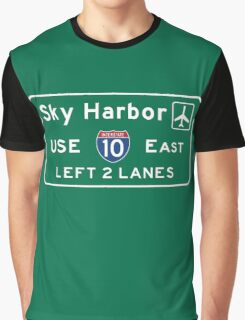 Phoenix Sky Harbor International Airport (PHX), Road Sign, Arizona Graphic T-Shirt