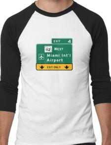 Miami International Airport (MIA), Road Sign, Florida Men's Baseball ¾ T-Shirt