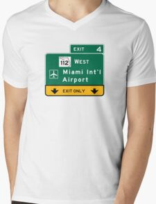Miami International Airport (MIA), Road Sign, Florida Mens V-Neck T-Shirt