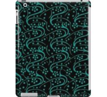 Vintage Swirl Floral Turquoise and Black iPad Case/Skin