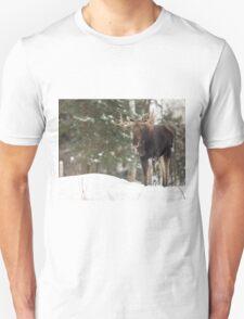 Bull moose in winter Unisex T-Shirt