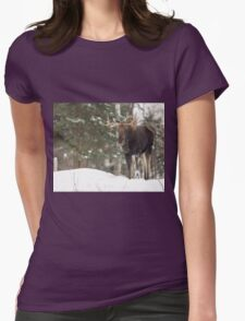 Bull moose in winter Womens Fitted T-Shirt
