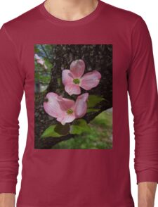 Pink Dogwood Blossoms Long Sleeve T-Shirt