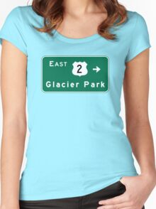 Glacier Park, Road Sign, US Route 2, Montana Women's Fitted Scoop T-Shirt