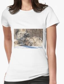 Timber wolves playing in winter Womens Fitted T-Shirt