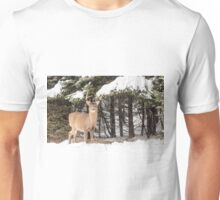 Deer in the snow woods Unisex T-Shirt
