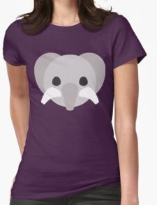 Cartoon Cute Elephant Face Womens Fitted T-Shirt