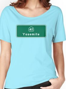 Yosemite National Park, Road Sign, California Women's Relaxed Fit T-Shirt