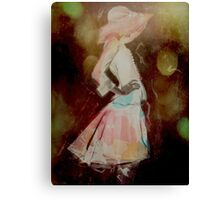 Girl with bih hat Canvas Print