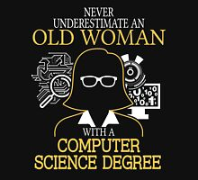 Never Underestimate An Old Woman With A Computer Science Degree Women's Fitted V-Neck T-Shirt