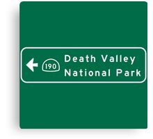 Death Valley National Park, Road Sign, California Canvas Print
