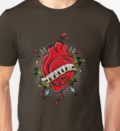 Old school heart with banner Unisex T-Shirt