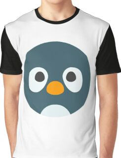 Cute Cartoon Penguin Face Graphic T-Shirt