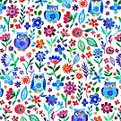 Little Owls and Flowers on White by micklyn