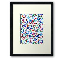 Little Owls and Flowers on White Framed Print