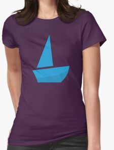 Blue Sailing Boat, Silhouette Womens Fitted T-Shirt