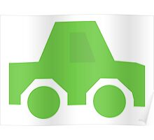 Green Car, Silhouette Poster
