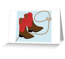 Red Cowboy Boots & Rope Greeting Card