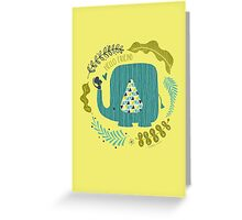 Jungle Love Blue Elephant Greeting Card