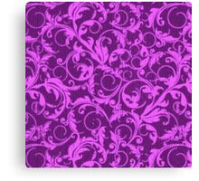 Vintage Swirls Winterberry and Orchid Purple Canvas Print