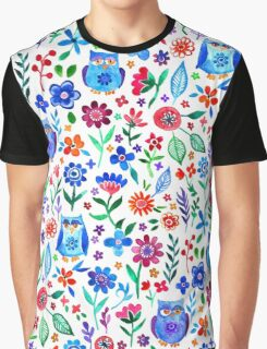 Little Owls and Flowers on White Graphic T-Shirt