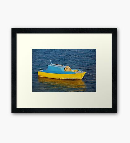 Little fishing boat, Halki Framed Print