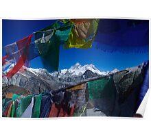 Mount Everest through prayer flags Nepal Poster