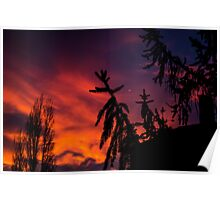 Dramatic sky during sunset Poster