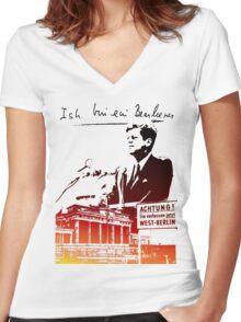 Ich bin ein Berliner, Berlin Wall, T-shirt Women's Fitted V-Neck T-Shirt