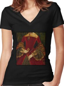 Opulent elaborately embroidered Historical Fashion costume detail Women's Fitted V-Neck T-Shirt