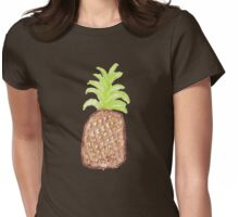 Hand Painted Watercolor Tropical Pineapples Womens Fitted T-Shirt