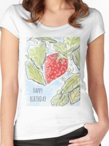 """""""Happy Birthday"""" Strawberry Painting Women's Fitted Scoop T-Shirt"""